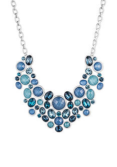 Nine West Silver-tone and Blue Drama Frontal Necklace