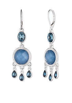 Nine West Silver-tone and Blue Shaky Drop Earrings