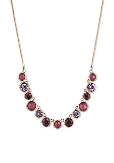 Nine West Gold-tone and Berry Frontal Necklace