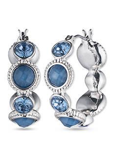 Nine West Silver-tone and Blue Click Top Hoop Earrings