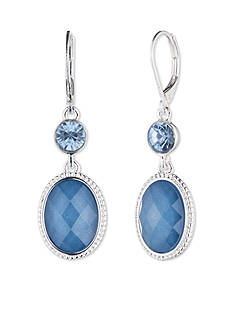 Nine West Silver-tone and Blue Double Drop Earrings