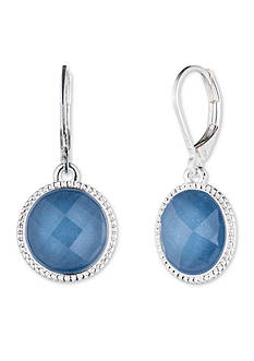Nine West Silver-tone and Blue Lever Back Drop Earrings