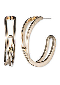 Nine West Gold-tone Crossover Post Hoop Earrings