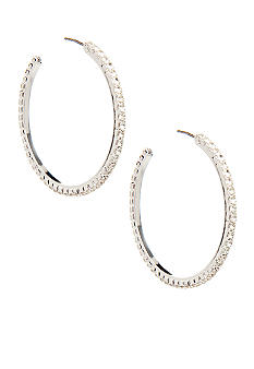 Nine West Medium Crystal Hoop Earring