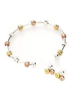 Tri-Color Sterling Bracelet and Studs Box Set