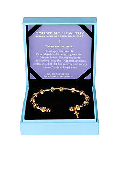 Chelsea Charles Count Me Healthy Happy and Blessed Golden with Diamond Cross Charm