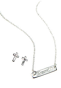 Chelsea Charles Silver Blessed ID Necklace Set