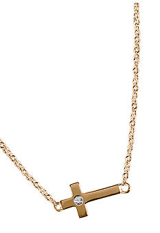 Chelsea Charles Gold Sideways Cross Necklace with Diamond Center