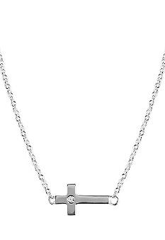 Chelsea Charles Silver Sideways Cross Necklace with Diamond Center
