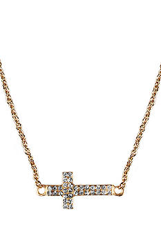 Chelsea Charles Gold Sideways Cross Necklace with Pave Diamonds