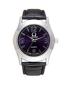 Legion Black Pu Leather Strap Watch