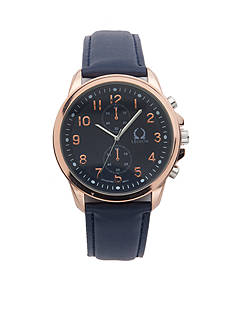 Legion Men's Navy Strap Rose Gold-Tone Watch