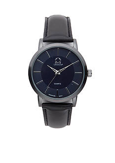 Legion Men's Blue Dial Black Strap Watch