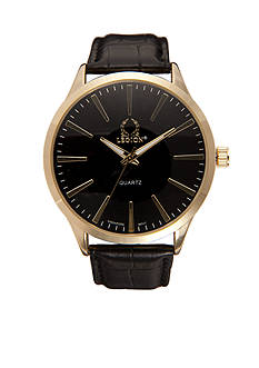 Legion Men's Black Leather Strap Watch