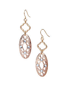 New Directions Metal Oval Drop and Crystal Earrings