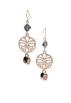 New Directions® Tri Tone Disk Drop Earrings