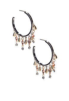 New Directions Metal Fringe Hoop Earrings