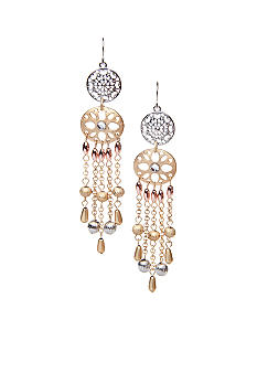 New Directions Tri Tone Chandelier Metal Bead Earrings