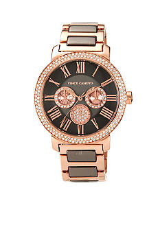 Vince Camuto Sleek Gun Metal and Rose Gold Bracelet with Crystal Bezel