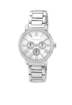 Vince Camuto Sleek Silver-Tone Bracelet with Crystal Bezel