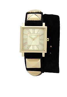 Vince Camuto Double Wrap Strap Watch with Accents