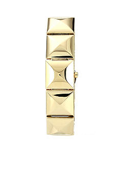 Vince Camuto Gold Tone Pyramid Link Watch