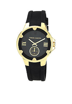 Vince Camuto Black Silicon Strap with Gold Tone Bezel
