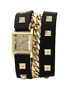 Vince Camuto Wrap-Around Strap Watch with Gold Tone Accents