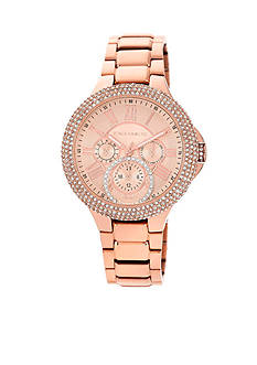 Vince Camuto Rose-Gold-Tone Multi-Function Crystal Bezel Watch