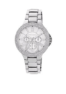 Vince Camuto Silver Tone Multi-function Crystal Bezel Watch