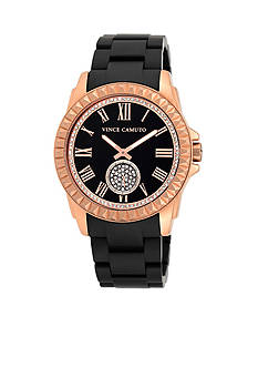 Vince Camuto Matte Black with Rose Gold Tone Hardware Bracelet Watch