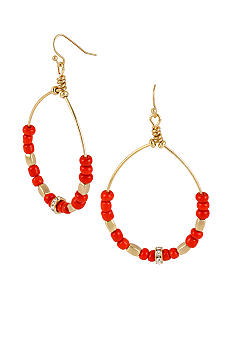 CYNTHIA Cynthia Rowley Red Tonal Gypsy Hoop Earrings