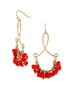 CYNTHIA Cynthia Rowley Red Cluster Drop Earrings