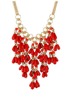 CYNTHIA Cynthia Rowley Red Teardrop Statement Necklace
