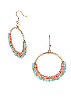 CYNTHIA Cynthia Rowley Turquoise & Pink Bead Circle Drop Earrings