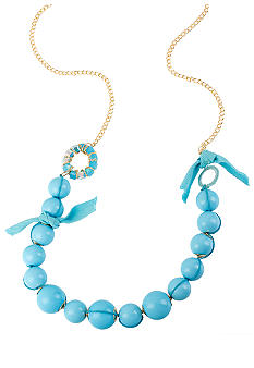 CYNTHIA Cynthia Rowley Turquoise Round Bead Frontal Long Necklace