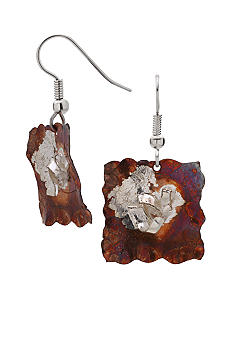 aakofii Handcrafted Square Fine Silver & Oxidized Copper Earrings