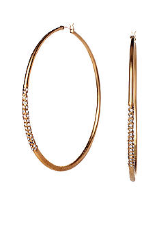 ABS by Allen Schwartz Large Hoop with Side Pave Earrings
