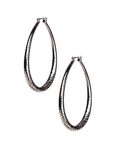 ABS by Allen Schwartz Texture Oval Hoop Earrings