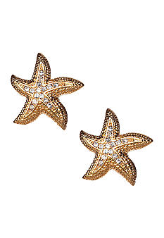 ABS by Allen Schwartz Pave Starfish Button Earrings