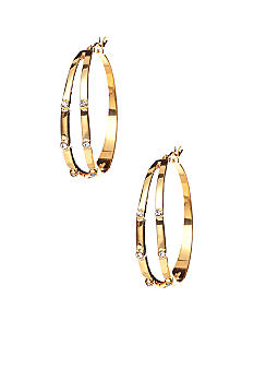 ABS by Allen Schwartz Stone Set Hoop Earrings