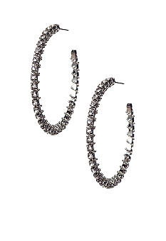 ABS by Allen Schwartz Rhinestone Chain Wrap Hoop Earrings