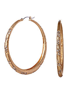 ABS by Allen Schwartz Scattered Pave Hoop Earrings