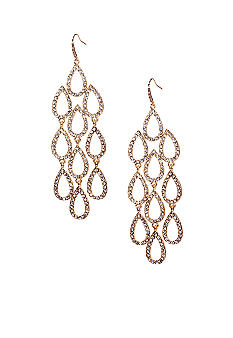 ABS by Allen Schwartz Gold Tone Crystal Chandelier Earrings