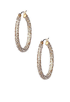 ABS by Allen Schwartz Oval Pave Hoop Earrings