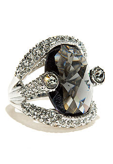 Large Stone Set Pave Ring