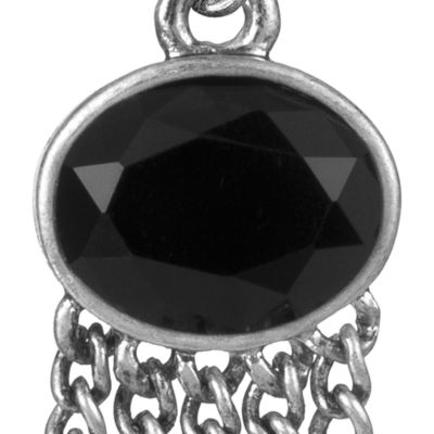 The Sak: Black/Silver The Sak Oval Fringe Drop Earring