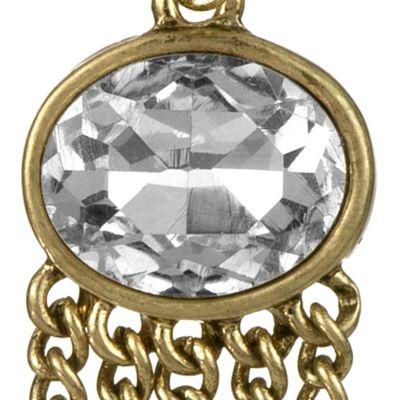 The Sak: Crystal/Gold The Sak Oval Fringe Drop Earring