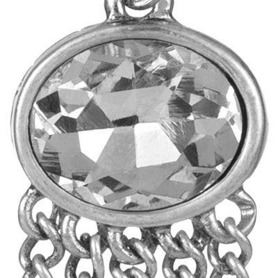 The Sak: Crystal/Silver The Sak Oval Fringe Drop Earring
