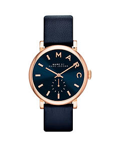 Marc Jacobs Women's Baker Navy Leather Three Hand Watch
